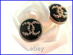 10 STAMPED CHANEL BUTTONS BLACK GOLD RHINESTONE CC LOGO 20 mm 0.79 lot of 10
