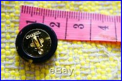100% Chanel buttons lot 5 black cc logo 17 mm 0,7 inch metal stamped
