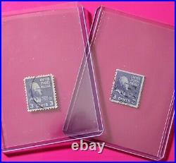 1938 THOMAS JEFFERSON VINTAGE U. S. 3 Cent Stamp Lot RARE 2 STRAIGHT EDGES (NM)