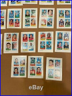 1969 topps football 4 in 1 stamp card/insert-LOT of 33- Namath, Sayers, Griese