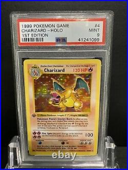 1999 Base Set 1st Shadowless Charizard PSA 9 Mint Pokemon Grey Stamp Pure Fire