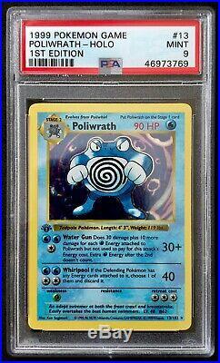 1999 Pokémon 1st Edition Base Set Poliwrath 13/102 PSA 9 MINT Thick Stamp