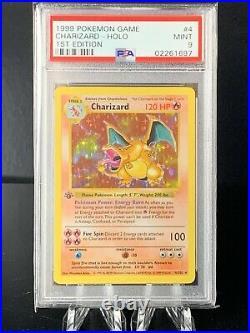 1999 Pokemon 1st Edition Stamp Base Set Shadowless Holo Charizard PSA 9 Mint