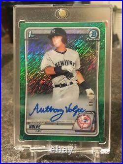 2020 Bowman Chrome 1st Draft Anthony Volpe Green Shimmer REFRACTOR Auto 31/99