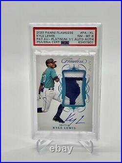 2020 Kyle Lewis Panini Flawless Baseball Platinum 1/1 Patch Auto PSA 8 POP 1