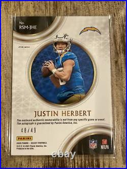2020 Panini Select Justin Herbert Patch Auto Silver RPA 48/49 RC Autograph MINT