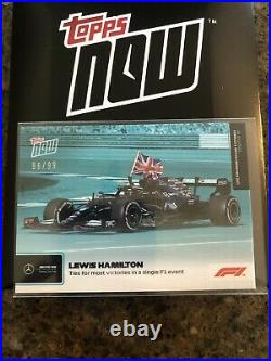 2021 F1 TOPPS NOW Lewis Hamilton Most Victories at 1 Event! Teal Parallel 96/99