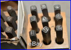 4 sets antique & vintage numbers machinist die stamping metal working tool lot