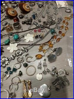 490 g sterling silver jewelry lot, pre owned, wearable, all stamped, beads