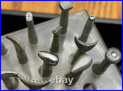 55 Craftool Leather Working Tools Stamps WithAcrylic Stand 33 Vtg craftool
