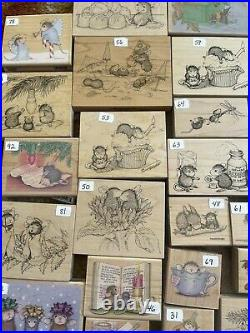 69 House Mouse Stampa Rosa Wooden Rubber Stamp Lot Will Not Separate