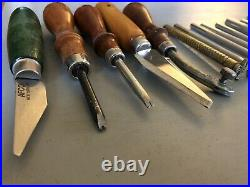 73pc Vintage Craftool Leather Stamps Lot /Set And Leather Tools with Wooden Holder