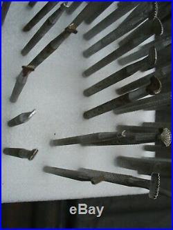 73pc Vintage USA Craftool Co leather stamp tool lot moon beveler seeder veiner