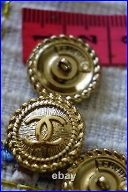 8 Stamped Chanel buttons lot of 8 cc logo 16 mm 0,7 inch gold