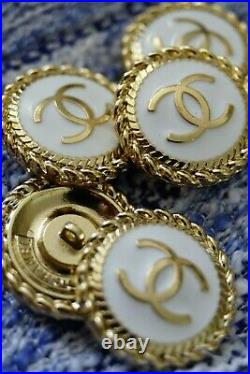 9 STAMPED Authentic Chanel Buttons lot of 9 white gold
