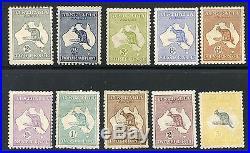 Australia Kangaroos Scott#45/54 Mint Hinged Full Original Gum #52 Is Used