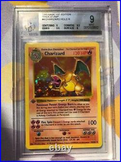 BGS 9 Mint Thick Stamp Charizard Holo 1st Edition Base Set 1999 Pokemon