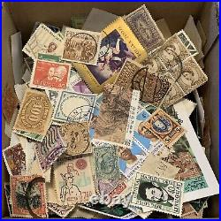 BOX LOT WW STAMP LOT. 1000s OF OFF PAPER STAMPS 100+ INTERNATIONAL COUNTRIES