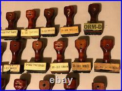 Big Lot of 30+ Vintage Wooden Handle Rubber Office Stamps