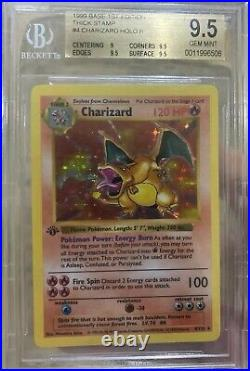Charizard 1st Edition Shadowless 1999 Pokemon Base #4 Holo Gem Mint Thick Stamp