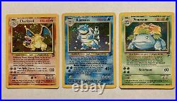 Charizard Blastoise Venusaur All Holo With Swirl Base #2,4,18 Pokémon Card NM Mint