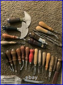Craftool CS Osborne Leather Punch Stamp & Tool Lot Saddle Maker Cobbler S&H