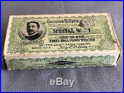 Early 1900s GILLETTE W-1 Safety Razor MINT IN BOX Stamped SPECIAL Prototype