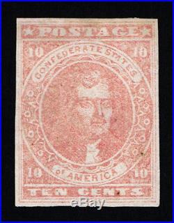 Genuine Confederate Csa Scott #5 Used Pf Cert 10¢ Rose Appears Mint Scv $450