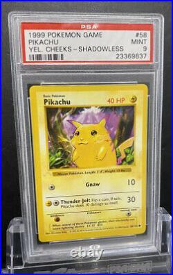Ghost Phantom Stamp 1st Edition 58/102 Pikachu Error PSA 9 Mint
