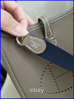 HERMES Mini Evelyne TPM 16 Amazone Etoupe Bleu Indigo Clemence 2019 D stamp MINT