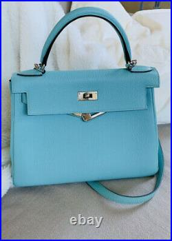 Hermes Kelly Bag 28 Atoll Togo Platinum Hardware Stamp T Mint Condition