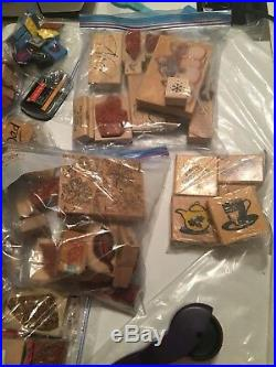 Huge Collection LOT 150+ Mixed Wooden Block Rubber Stamp Sets Wood All Occasions