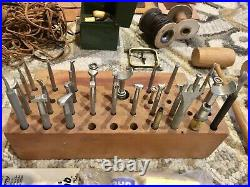 Huge Lot Vintage Leather Tools Craftool Punches Supplies Stamps Leather Scrap