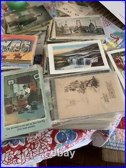 Huge Lot vintage antique postcards stamps Culled From Estate And Antique Malls