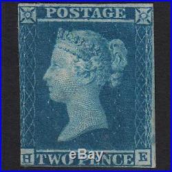 J1 GB QV 1841 2d BLUE PLATE 3 (SG14)'HE' FM MINT NEAR 4 MARGINS CAT£6000