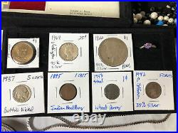Junk Drawer Lot 1922 Silver Peace Dollar Coins Gold Jewelry Stamps Cards