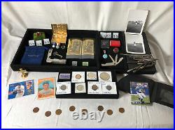 Junk Drawer Lot 1922 Silver Peace Dollar Coins Stamps Jewelry Cards Photos