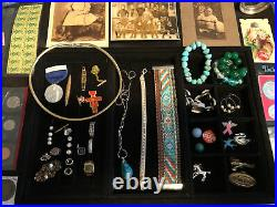 Junk Drawer Lot Silver Coins Franklin Walking Liberty Sterling Stamps Jewelry