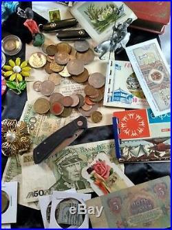Junk drawer lot 14K Gold, Sterling. 999 Gold, Knives, Coins, Harley, Stamps