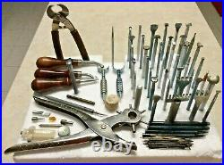 Large Vintage Lot Of Leather Stamps Punch Tools Craftool & Other Misc Tools USA