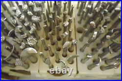 Leather Craftvintagecraftoollarge Lot Of 189 Stamps Plus 5 Tool Racks