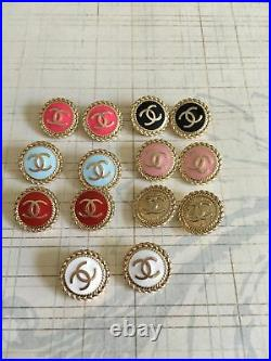 Lot 14 16mm 7color enamel gold tone Metal Stamped 10 Authentic Chanel button