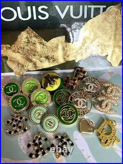 Lot of 20 Chanel CC Logo Buttons Stamped Button GG DIOR LV Gucci Louis Vuitton