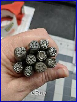 Lot of 32 Metal Jewelry Design Stamps flowers, animals, crown, butterfly