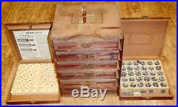 Lot of 6 Vintage Kingsley Hot Foil Stamping Machine Type Font Set Wood Boxes
