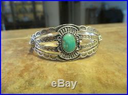 MINT OLD Fred Harvey Era Navajo Sterling Turquoise Stamped Design Bracelet