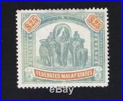 Malaya F. M. S. 1900 Sg# 26 Elephant $25 Fine Mint Lh. Wmk Crown CC Malaysia