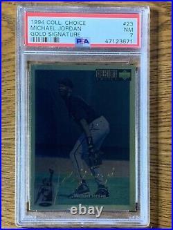 Michael Jordan 1994-95 Collectors Choice #23 Gold Signature PSA 7 NM Rare SSP