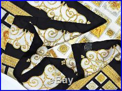 Mint ATELIER VERSACE International STAMPS Medusa BAROQUE Black Gold Silk Scarf