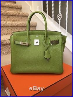 Mint! Hermes Birkin 30 CM Togo Vert Anis Green Phw I Stamp
